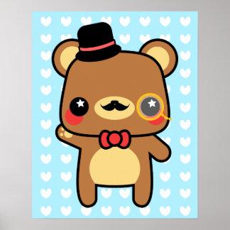 Kawaii Cartoon Bear Art & Framed Artwork | Zazzle