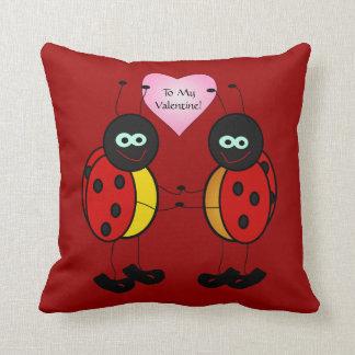 Adorable Cartoon Ladybug Valentine's Day Pillow