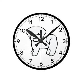Adorable Cartoon Maltese Dog Drawing Round Clock
