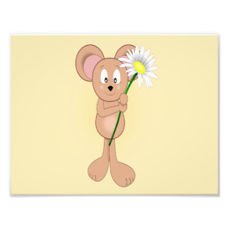 Adorable Cartoon Mouse Holding Flower Photograph