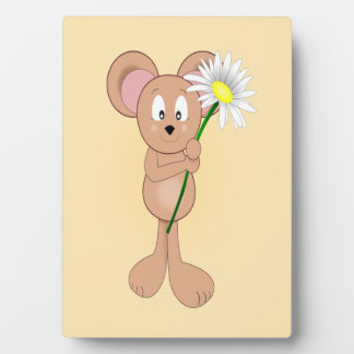 Adorable Cartoon Mouse Holding Flower Plaque