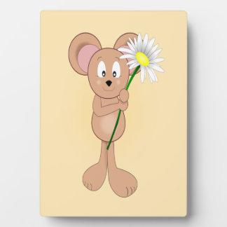 Adorable Cartoon Mouse Holding Flower Plaque