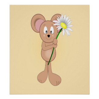 Adorable Cartoon Mouse Holding Flower Print