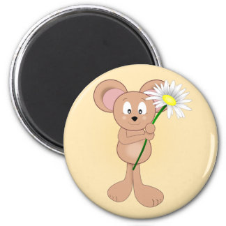 Adorable Cartoon Mouse with Flower 2 Inch Round Magnet