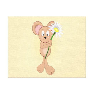 Adorable Cartoon Mouse with Flower Canvas Print