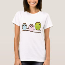 Adorable Cartoon Owl Family T-Shirt