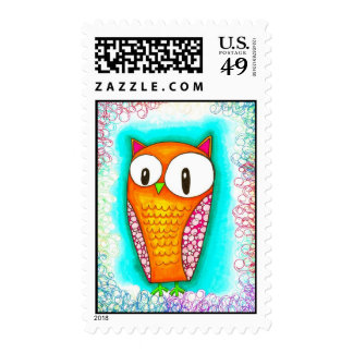 Adorable Cartoon Owl Postage Stamps