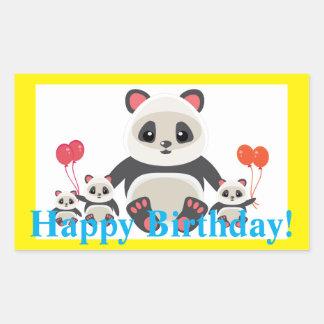 Adorable Cartoon Panda Bears with Balloons Rectangular Sticker