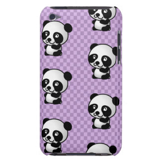Adorable Cartoon Panda's Purple Checked Background Barely There iPod Cover