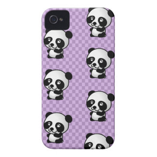 Adorable Cartoon Panda's Purple Checked Background iPhone 4 Cover