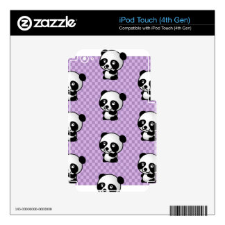 Adorable Cartoon Panda's Purple Checked Background iPod Touch 4G Decal