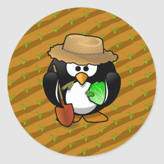 Adorable Cartoon Penguin Farmer on Field Classic Round Sticker