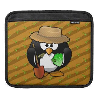 Adorable Cartoon Penguin Farmer on Field Sleeve For iPads