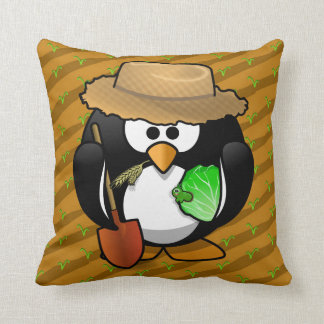 Adorable Cartoon Penguin Farmer on Field Throw Pillow