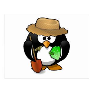 Adorable Cartoon Penguin Farmer Postcard