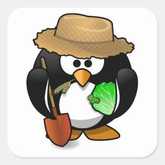 Adorable Cartoon Penguin Farmer Square Sticker