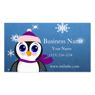 Adorable Cartoon Penguin with Scarf and Hat Business Card Templates