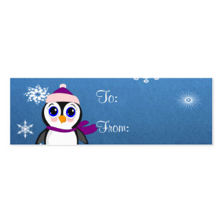 Adorable Cartoon Penguin with Scarf and Hat Double-Sided Mini Business Cards (Pack Of 20)
