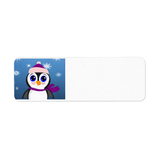 Adorable Cartoon Penguin with Scarf and Hat Label