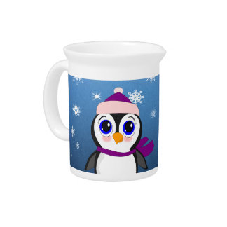Adorable Cartoon Penguin with Scarf and Hat Beverage Pitchers