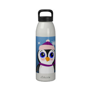 Adorable Cartoon Penguin with Scarf and Hat Drinking Bottles