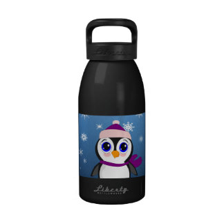 Adorable Cartoon Penguin with Scarf and Hat Reusable Water Bottle
