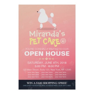 Adorable Cartoon Poodle Dog Pet Shop Open House Poster