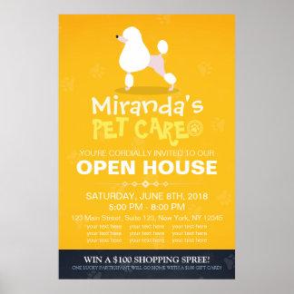 Adorable Cartoon Poodle Dog Pet Shop Open House Poster