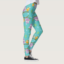 Adorable Cartoon Style Owls on Branch Print Leggings