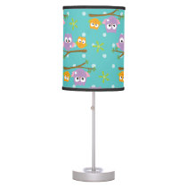 Adorable Cartoon Style Owls on Branch Print Table Lamp