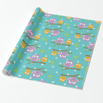 Adorable Cartoon Style Owls on Branch Print Wrapping Paper