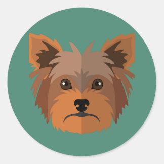Adorable Cartoon Yorkshire Terrier, Yorkie Classic Round Sticker
