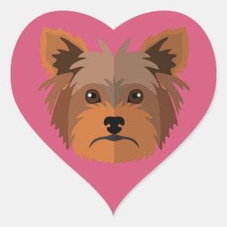 Adorable Cartoon Yorkshire Terrier, Yorkie Heart Sticker
