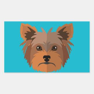 Adorable Cartoon Yorkshire Terrier, Yorkie Rectangular Sticker