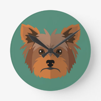 Adorable Cartoon Yorkshire Terrier, Yorkie Round Clock