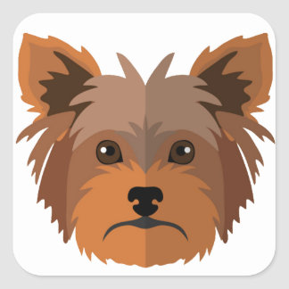 Adorable Cartoon Yorkshire Terrier, Yorkie Square Sticker