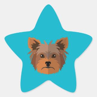 Adorable Cartoon Yorkshire Terrier, Yorkie Star Sticker