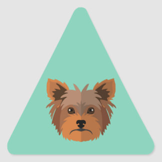 Adorable Cartoon Yorkshire Terrier, Yorkie Triangle Sticker