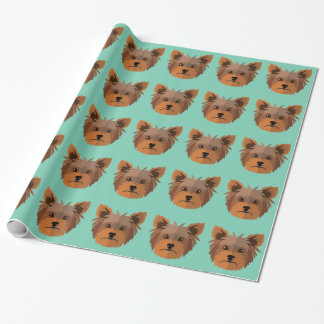 Adorable Cartoon Yorkshire Terrier, Yorkie Wrapping Paper