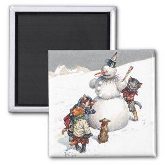 Adorable Cats Building a Snowman 2 Inch Square Magnet