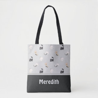 Adorable Cats Pattern | Black Grey | Personalized Tote Bag