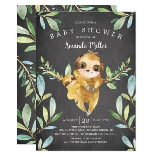 Adorable Chalkboard Sloth Baby Shower Invitation