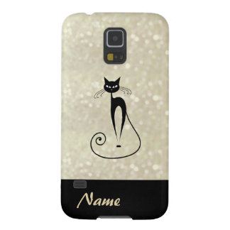 Adorable charming cheerful black cat glittery case for galaxy s5