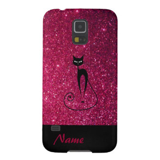 Adorable charming cheerful black cat glittery galaxy s5 case