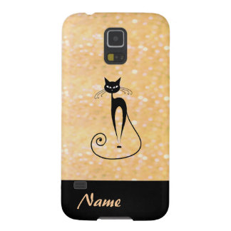Adorable charming cheerful black cat glittery galaxy s5 cover