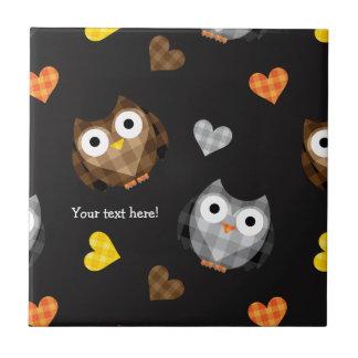 Adorable Checkered Hoot Owl Pattern Ceramic Tile