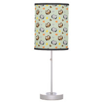 Adorable Checkered Hoot Owl Pattern Desk Lamp
