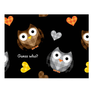 Adorable Checkered Hoot Owl Pattern Postcard