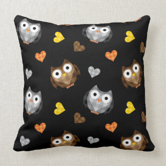 Adorable Checkered Hoot Owl Pattern Throw Pillow