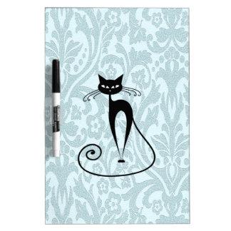 Adorable cheerful charm black cat damask vintage dry erase board